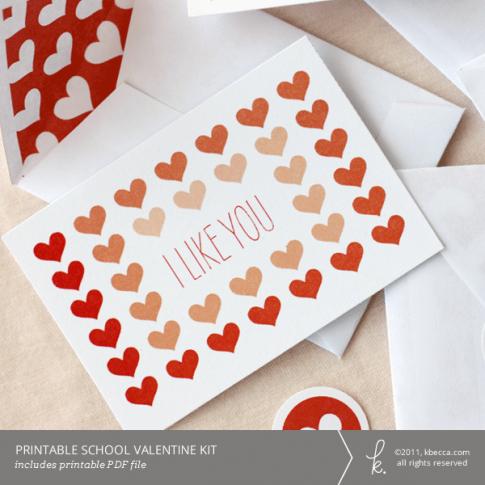 Printable School (Mini) Valentine Kit