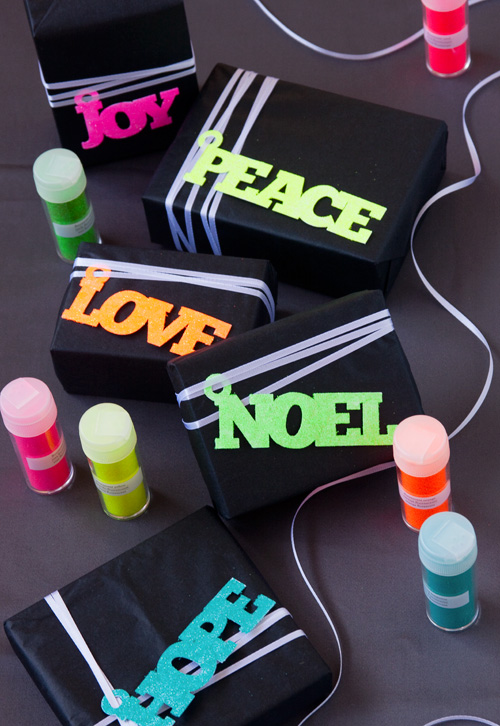 Neon Glitter Holiday Gift Tags