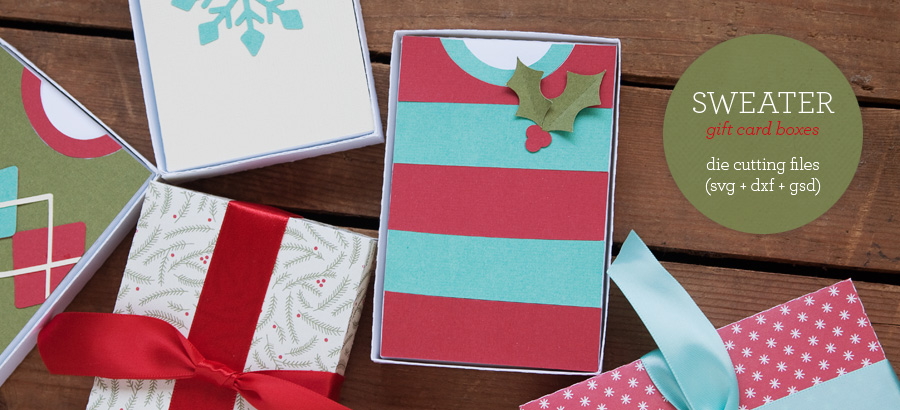 Sweater Gift Card Box Die Cutting Files