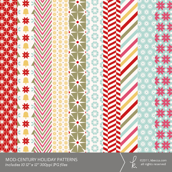 Mod-Century Holiday Printable Patterns