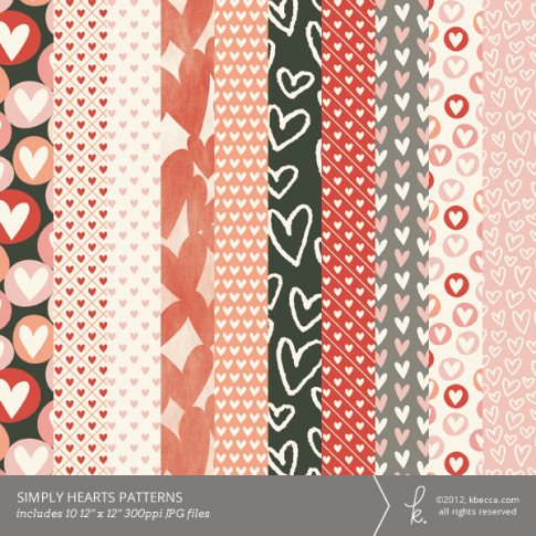 Simply Hearts Printable Patterns