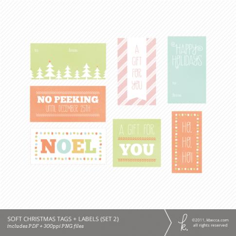 Soft Christmas Printable Gift Tags (Set 2)