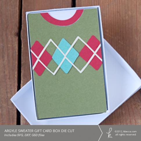 Argyle Sweater Gift Card Box Die Cuts | k.becca