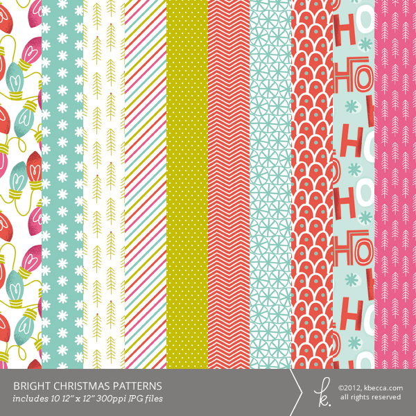 Bright Christmas Digtal Printable Patterned Papers