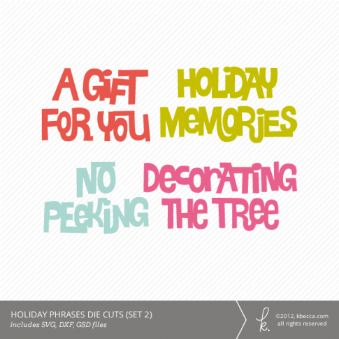 Hand Drawn Holiday Phrases Die Cutting Files (Set 2)