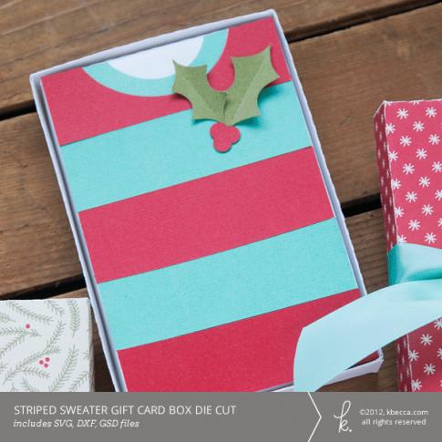 Striped Sweater Gift Card Box Die Cuts