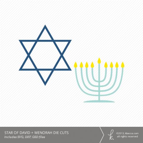 Hanukkah Star of David + Menorah Die Cuts