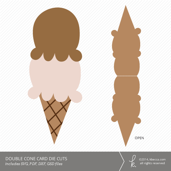 Double Scoop Cone Card Die Cuts | k.becca
