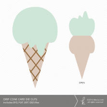 Drippy Ice Cream Cone Card Die Cuts | k.becca