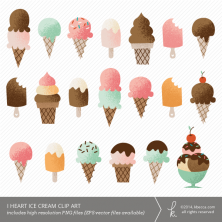 I Heart Ice Cream Clip Art (Personal + Commercial Use) | k.becca