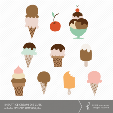 I Heart Ice Cream Die Cuts (SVG Included) | k.becca