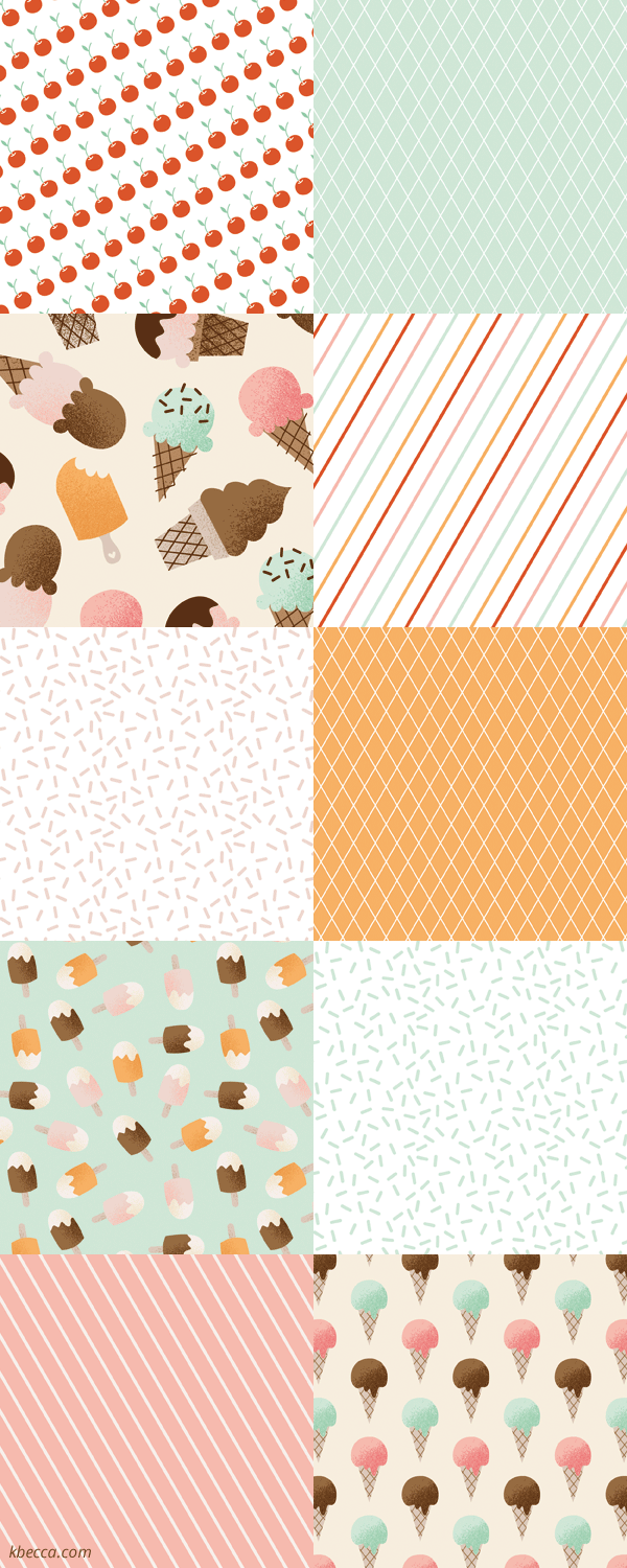 I Heart Ice Cream Digital Patterns | k.becca