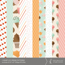 I Heart Ice Cream Digital Printable Patterns | k.becca