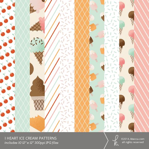 i heart ice cream digital printable patterns