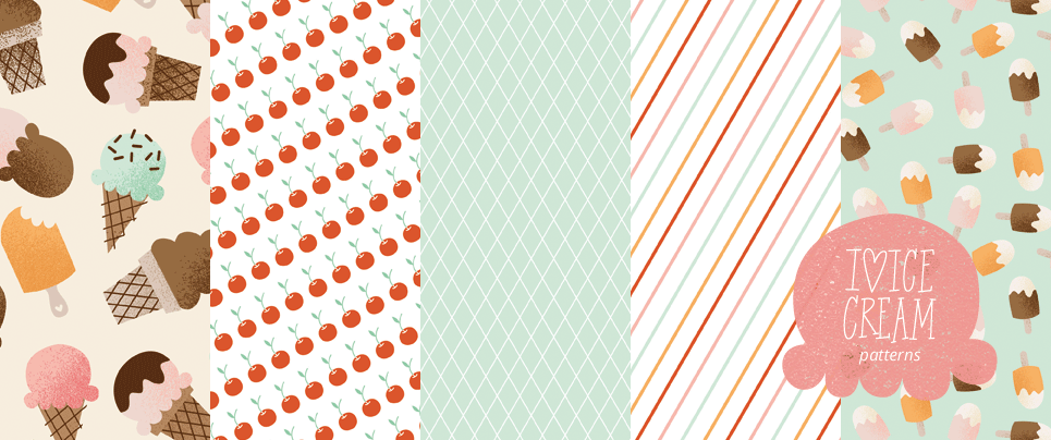 I Heart Ice Cream Patterned Papers
