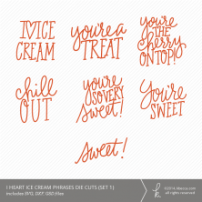 I Heart Ice Cream Words & Phrases Die Cuts | k.becca