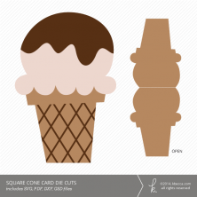 Square Cone Ice Cream Card Die Cuts | k.becca