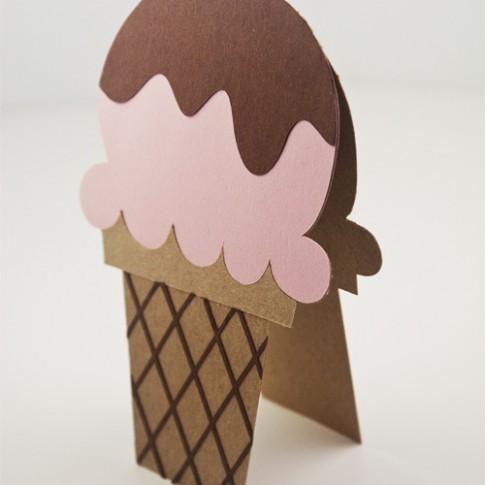 Fudge Topped Ice Cream Cone Card Die Cuts | k.becca