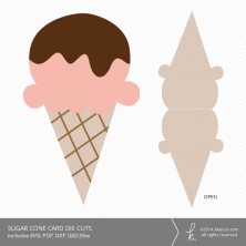 Sugar Cone Ice Cream Card Die Cuts | k.becca