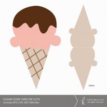 Sugar Cone Ice Cream Card Die Cuts | k.becca