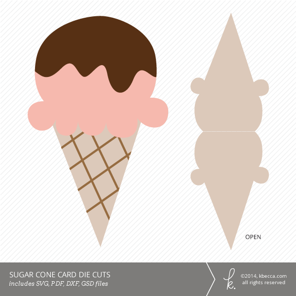 Sugar Cone Ice Cream Card Die Cuts Svg Files Included