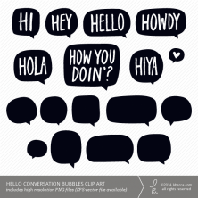Hello + Blank Conversation Bubble Clip Art (for Personal + Commercial Use) | k.becca