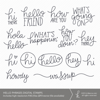 Hello Words & Phrases Personal + Commercial Use Clip Art | k.becca