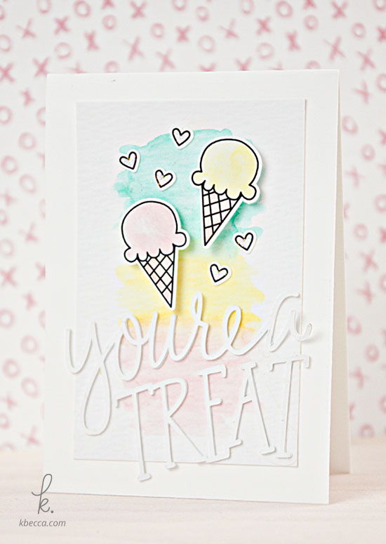 Watercolor + Die Cut Ice Cream-Themed Handmade Cards