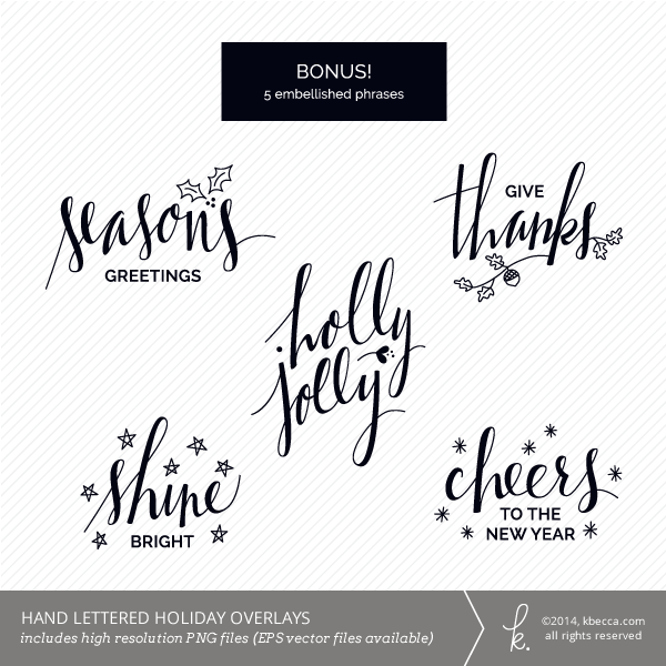 Hand Lettered Holiday Phrase Overlays Digital Stamps