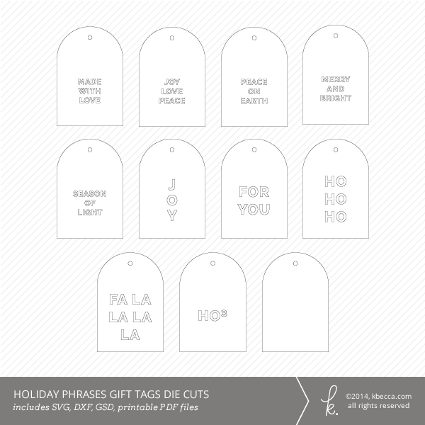 Holiday Phrases Gift Tag Die Cuts + Printable PDF (Outlines)