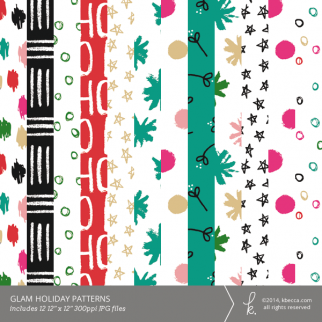Glam Holiday Digital Patterned Papers | K.becca
