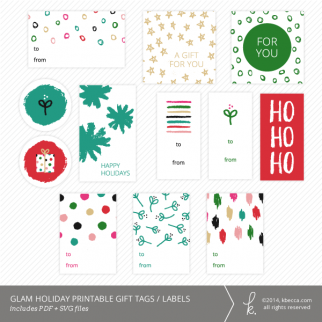 Glam Holiday Printable Gift Tags + Labels | K.becca
