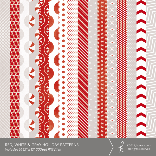 Red, White & Gray Holiday Digital Patterns