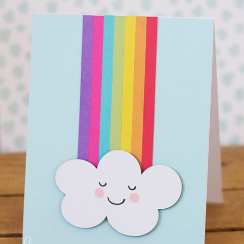 Die Cut Cascade Rainbow Card