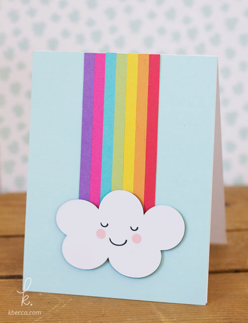 Cascading Rainbow Card Die Cuts from k.becca