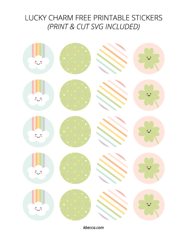 Free Printable Lucky Charm Print & Cut Stickers | kbecca.com