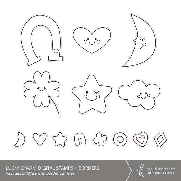 Lucky Charm SVG Digital Stamps + Border Die Cuts