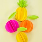 DIY 3D Paper Pineapple & Citrus Fruit Gift Toppers / Ornaments (Free SVG & PDF Templates Included)