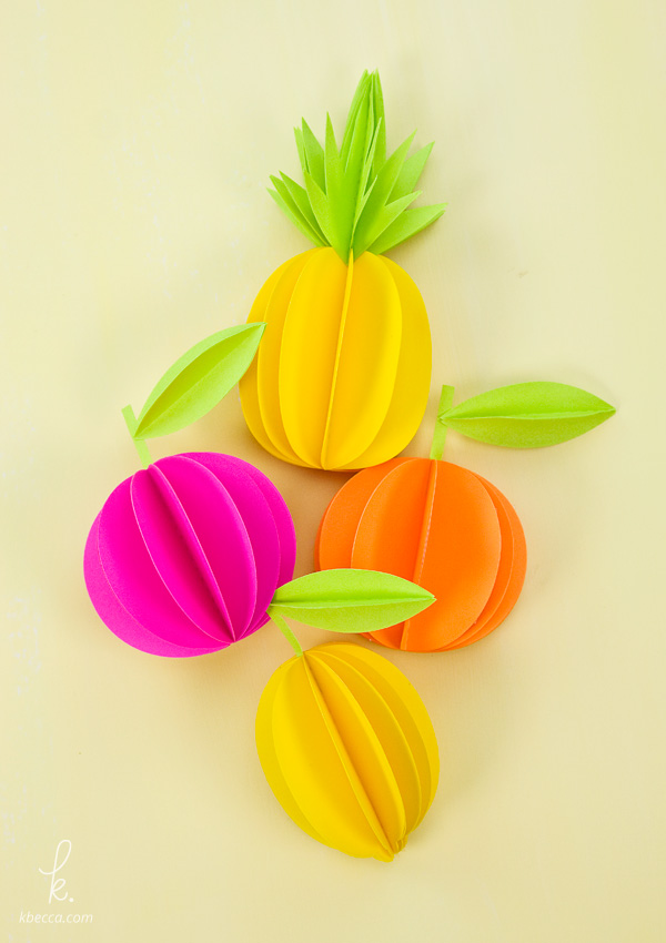 Video Tutorial : 3D Paper Pineapple & Citrus Fruits (Free SVG & PDF Templates)