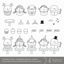 Cupcake Cuties : Christmas Digital Stamps (Commercial Licensing Available)