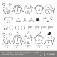 Cupcake Cuties : Christmas SVG Digital Stamps + Border Die Cuts