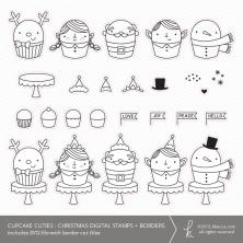Cupcake Cuties : Christmas SVG Digital Stamps + Border Die Cuts