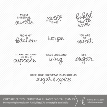 Cupcake Cuties : Christmas Phrases Digital Stamps (Commercial Licensing Available)