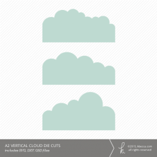 A2 Vertical Cloud Card Embellishment Die Cuts