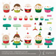 Cupcake Cuties : Christmas Clip Art (Commercial License Available)
