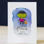 Cute Frankenstein's Monster Print & Cut Halloween Card