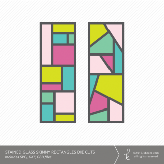 Stained Glass Skinny Rectangles Die Cuts (Commercial License Available)