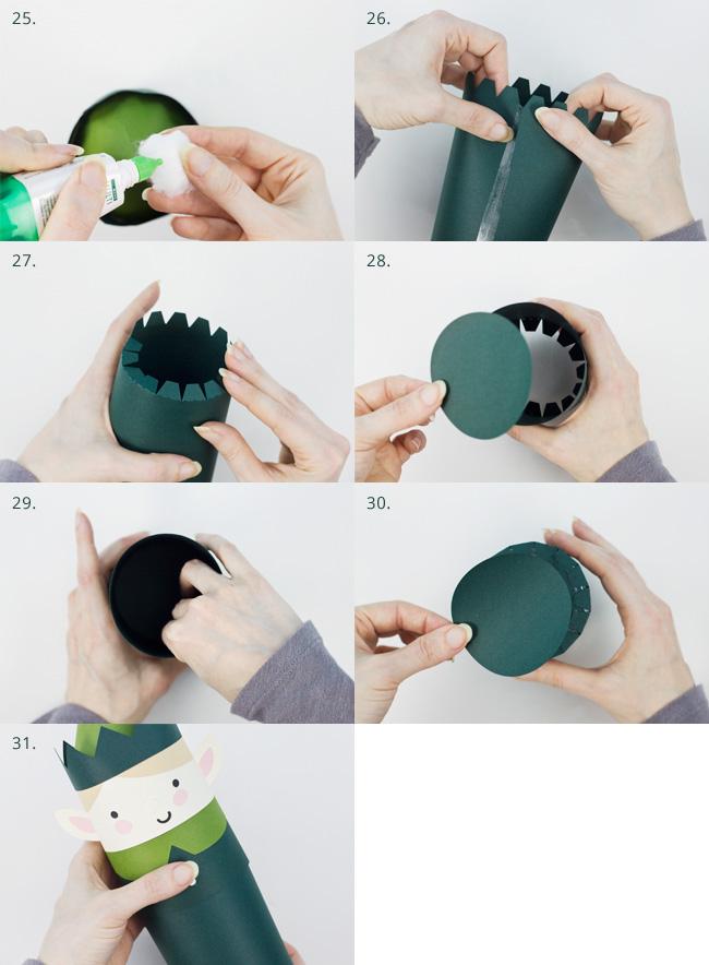 Die Cut Boy Elf Cylinder Box Assembly Instructions, Part 4