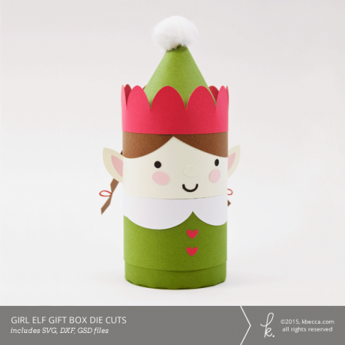 Girl Elf Cylinder Gift Box Die Cuts