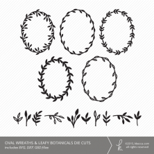 Hand Drawn Oval Wreaths & Leaves Die Cuts (Commercial Licensing Available)